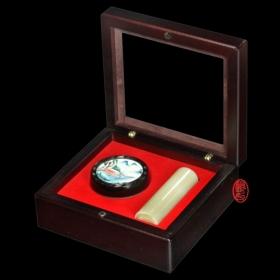 私章印章盒-木盒加印泥