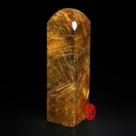 天然水晶印章-(紅銅鈦印章)方