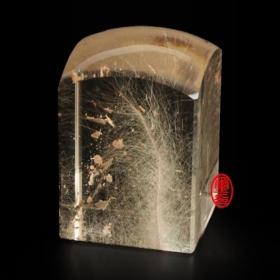玉璽宮廟印章-髮晶水晶印章 (方章)