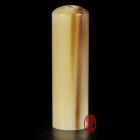 白牛角印章 (六分圓形私章)鳳梨黃